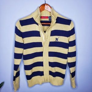 Striped Cotton Navy Football Zip Front Sweater